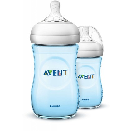 Avent Natural Blue Bottle 9oz/260ml Twin Pack