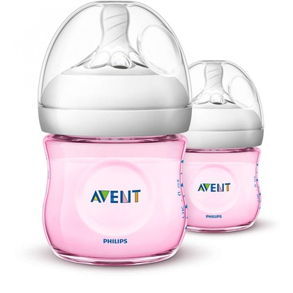 Avent Natural Pink Bottle 4oz/125ml Twin Pack