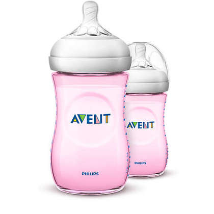 Avent Natural Pink Bottle 9oz/260ml Twin Pack