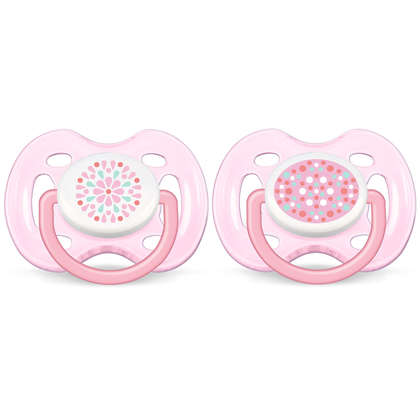 Avent Soother Contemporary Freeflow (0-6  Month) Twin Pack- Pink