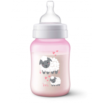 Avent Anti-Colic Pink Sheep Bottle 9oz/260ml Single Pack