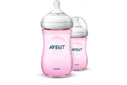 Made in UK - Avent Natural Pink Bottle 9oz/260ml Twin Pack