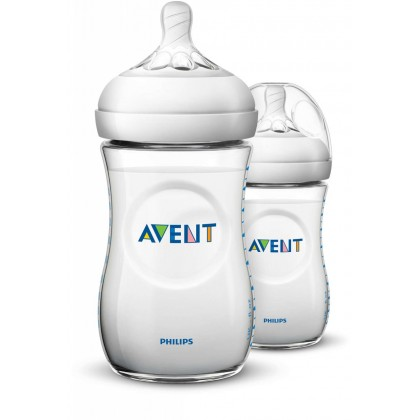Made in UK - Avent Natural Bottle 9oz/260ml Twin Pack