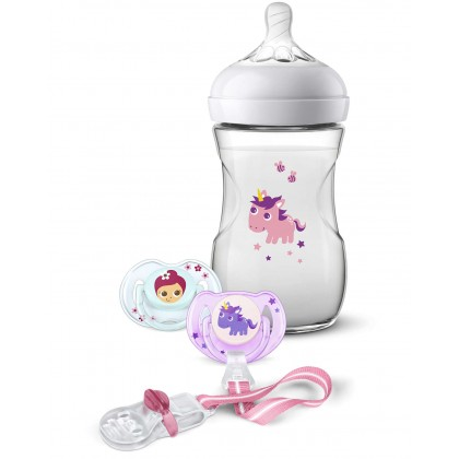 Avent Natural 9oz/260ml Unicorn Bottle Gift Set