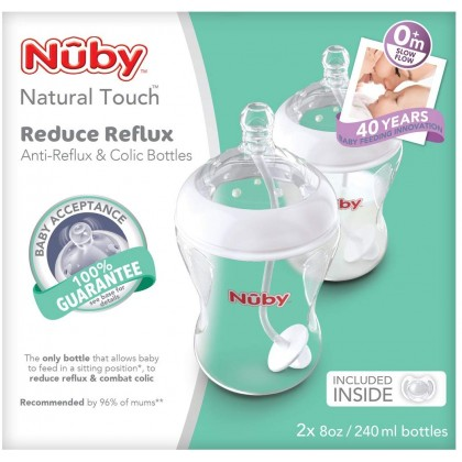 Nuby Natural Touch 240ml Anti Colic Bottle Twin Pack