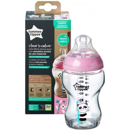 Tommee Tippee 9oz/250ml Panda Design Pink Glass Bottle