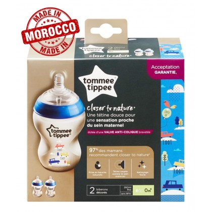 Tommee Tippee Closer to Nature 9oz/260ml Decorated Blue Bottle Twin Pack