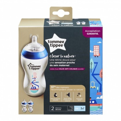 Tommee Tippee Closer to Nature 11oz/340ml Decorated Blue Bottle Twin Pack
