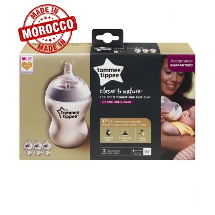 Tommee Tippee Closer to Nature 9oz/260ml Bottle Triple Pack