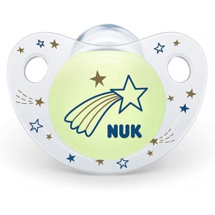 NUK Trendline Night Glow In Dark (6-18 Month) Blue Soother Twin Pack