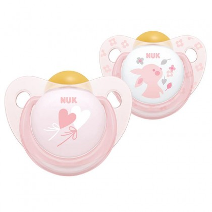 NUK Rose Rabbit Design (6-18 Month) Latex Soother Twin Pack