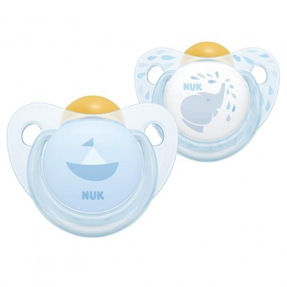 NUK Blue Elephant Design (6-18 Month) Latex Soother Twin Pack