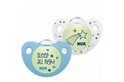 NUK Night & Day Glow in Dark (0-6 Month) Blue Soother Twin Pack