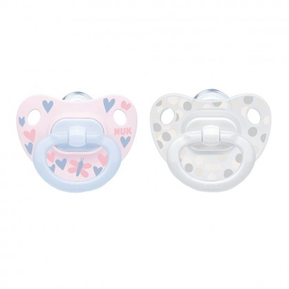 NUK Happy Days Pink (0-6 Month) Soother Twin Pack