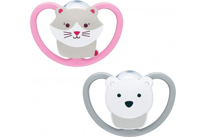 NUK Space Soother Cat and Polar Bear (0-6 Month) Twin Pack