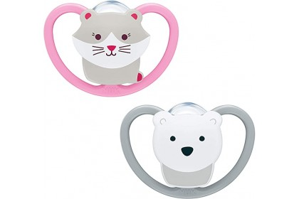 NUK Space Soother Cat and Polar Bear (6-18 Month) Twin Pack