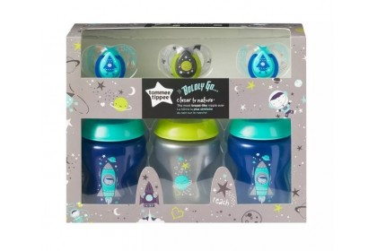 Tommee Tippee Closer to Nature 9oz/260ml Boldly Go Triple Pack With Soothers - Blue