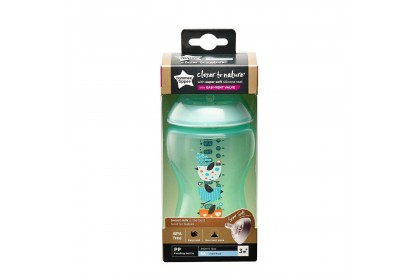 Tommee Tippee Closer To Nature 12oz/340ml Bottle Single Pack - Green Birds Design