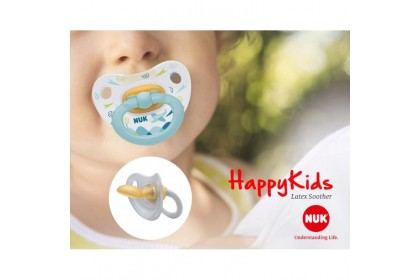 NUK Happy Kids Blue Sky Design (6-18 Month) Latex Soother Twin Pack