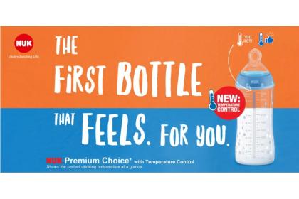 NUK Premium Choice+ Temperature Control Bottle 300ml- Blue Tractor