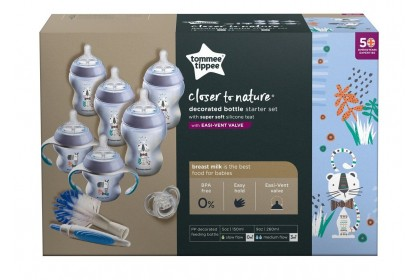 Tommee Tippee Closer To Nature Decorated Newborn Starter Set Blue Cat